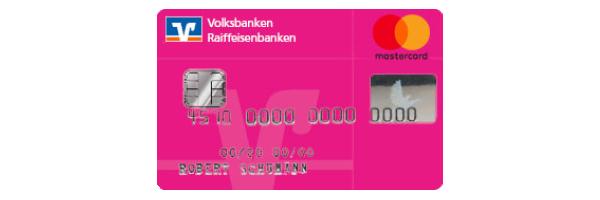 Das pinke Kreditkartenmotiv der Volksbank Raiffeisenbank